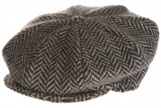 Men's tweed caps Eight Piece Cap Tweed Grey Herringbone