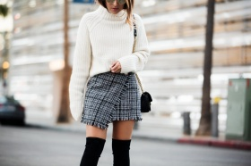 What can be worn with tweed skirt?