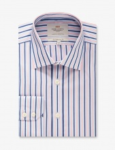 Shirts Men's Formal Pink & Navy Multi Stripe Slim Fit Shirt Single Cuff