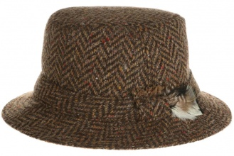 Men's tweed hats Walking Hat Tweed Brown Herringbone