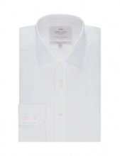 Shirts Men's Formal White Poplin Slim Fit Shirt Single Cuff