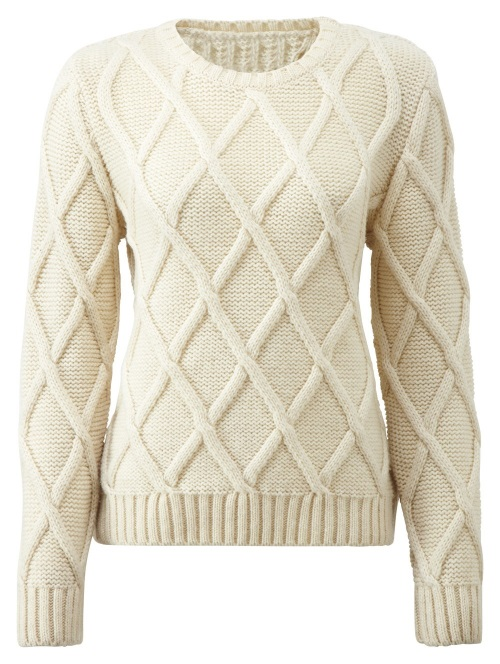 Women's Knitwear Cross Check Ecru