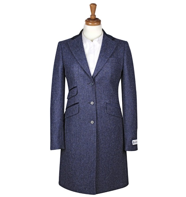 Women's Tweed Overcoats Tori Blue