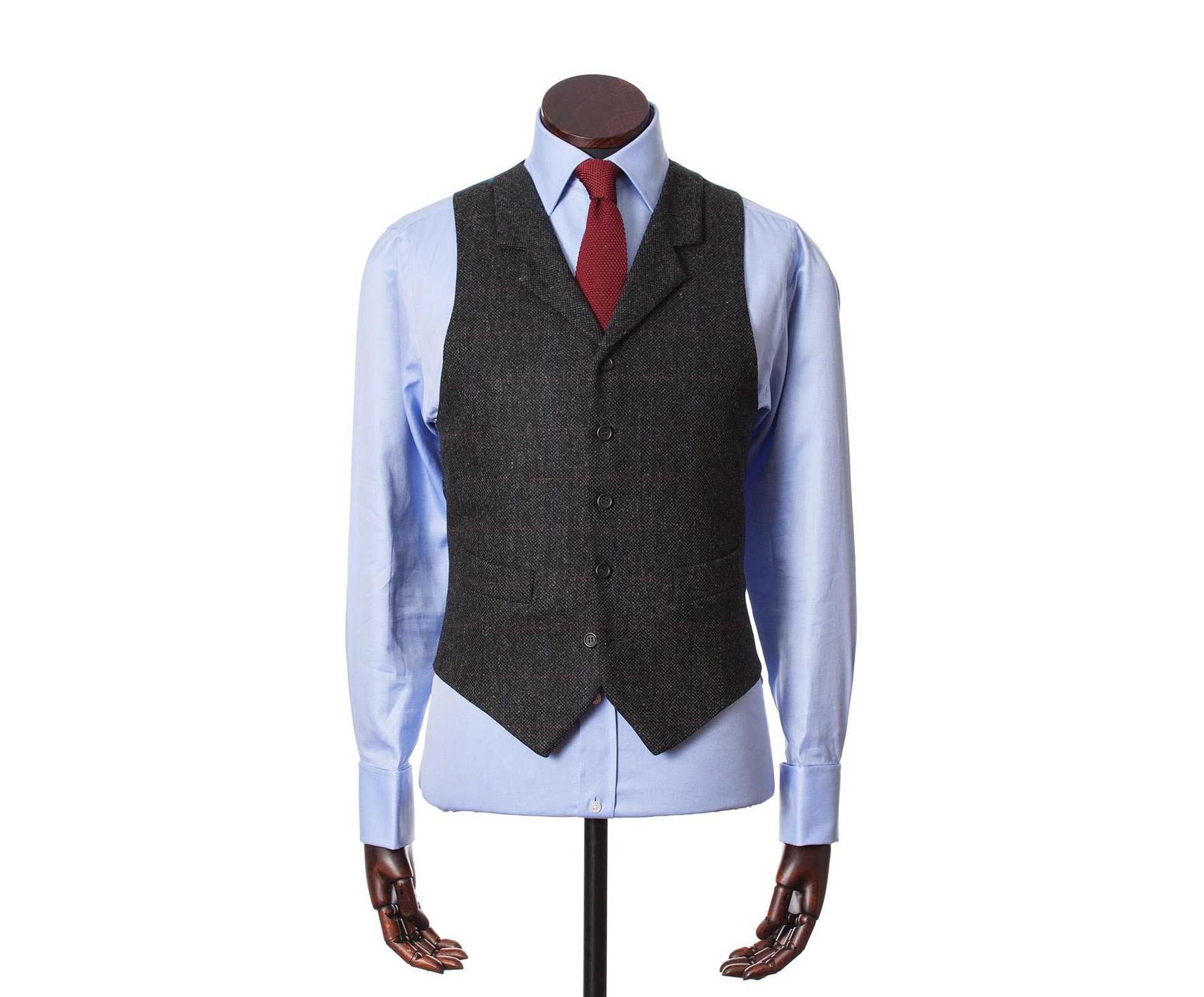 Men's Tweed Waistcoats Edward Charcoal Red