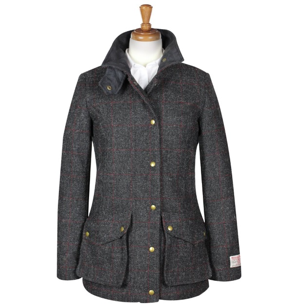 Women's Tweed Overcoats Joanna Charcoal Red