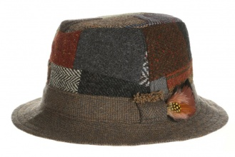 Men's tweed hats Walking Hat Patchwork Tweed