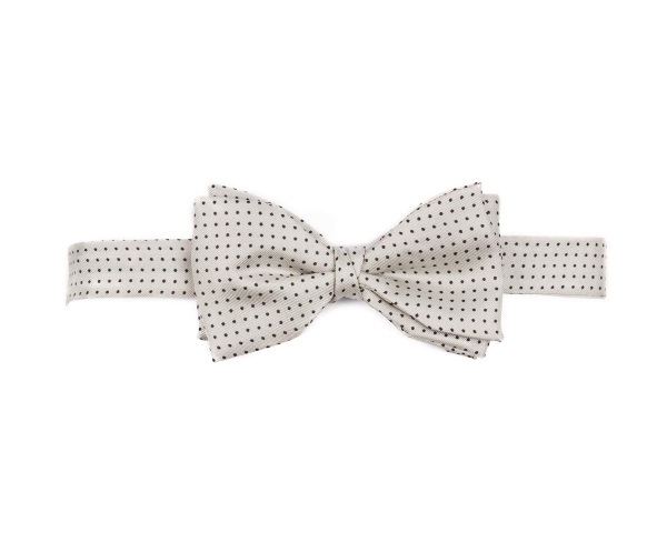 Men's tweed bow ties Pin Dot Silver
