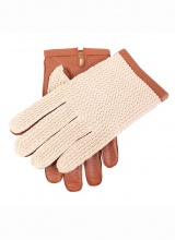 Gloves Dents Glove Crochet Tan Lined Acrylic Cognac