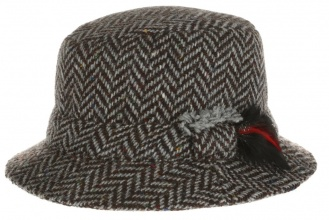 Men's tweed hats Dave Hat Tweed Grey Herringbone