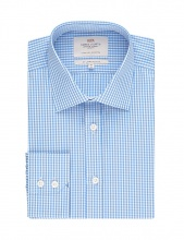 Shirts Men's Formal Blue & White Gingham Check Slim Fit Shirt Single Cuff