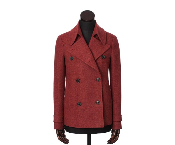 Women's Tweed Overcoats Plaidy Red
