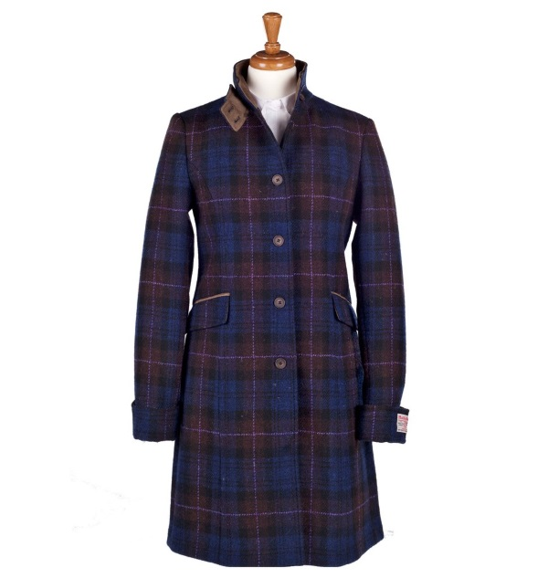 Women's Tweed Overcoats Fiona Purple Brown