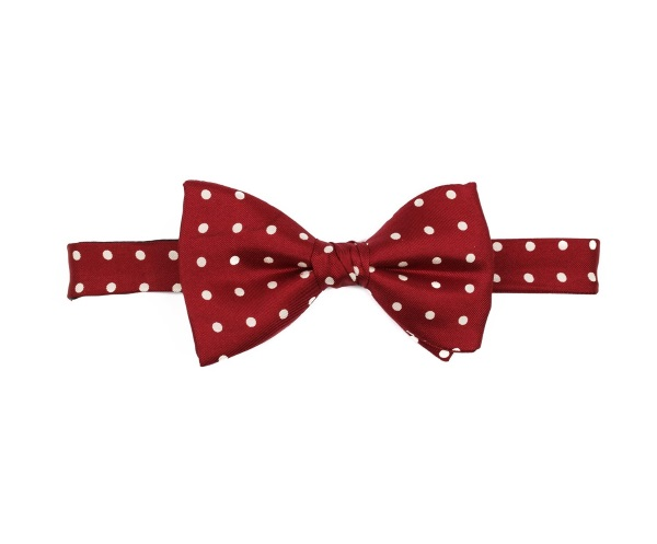 Men's tweed bow ties Polka Dot Burgundy