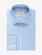 Shirts Men's Blue & White Gingham Check Slim Fit Shirt