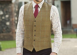 What are tweed waistcoats combined with?