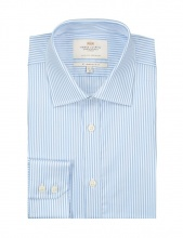 Shirts Men's Formal Blue & White Bengal Stripe Slim Fit Shirt Single Cuff