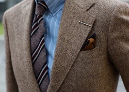 Shirts with tweed suit