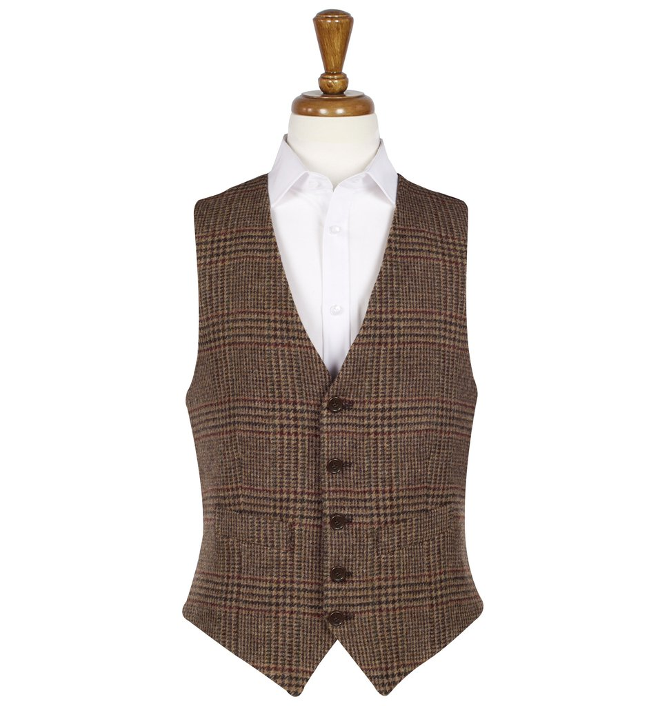Men's Tweed Waistcoats Iain Brown/Red
