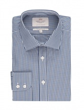 Shirts Men's Formal White & Navy Gingham Check Slim Fit Shirt Single Cuff