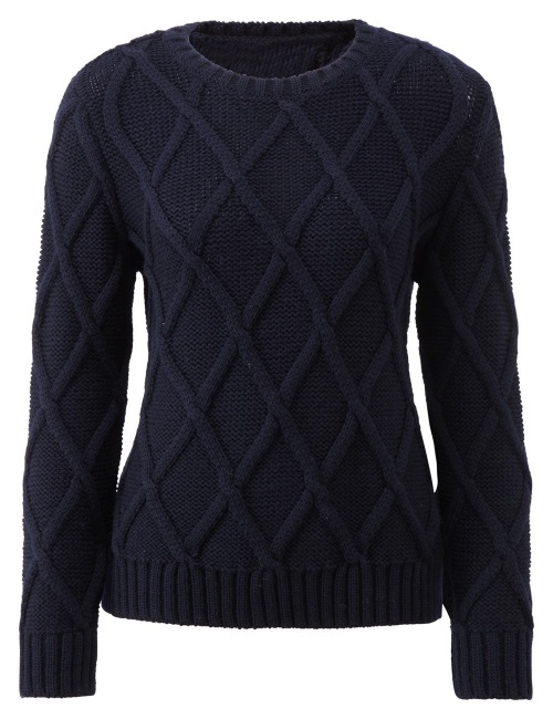 Women's Knitwear Cross Check  Navy