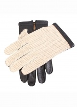 Gloves Dents Glove Crochet Back Lined Acrylic Black