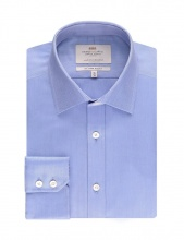 Shirts Men's Formal Blue Herringbone Slim Fit Shirt Single Cuff