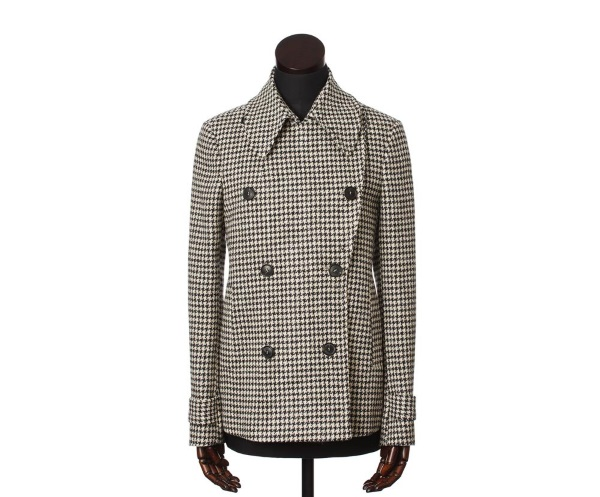 Women's Tweed Overcoats Plaidy Black Puppytooth